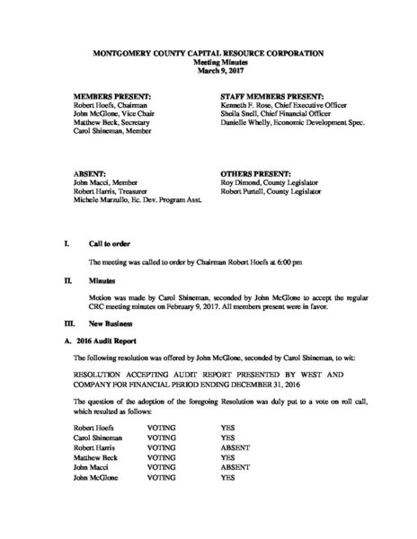 Full Meeting Minutes March CRC – Montgomery County Business